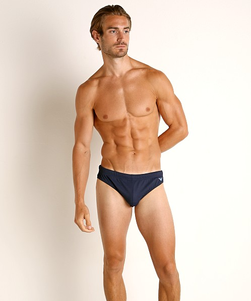 Emporio Armani Iconic Piquet Low Swim Brief Navy Blue