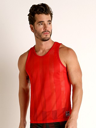 Model in red Cell Block 13 Midfield Mesh Tank Top