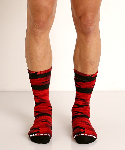 Cell Block 13 Foxhole Camo Knee Socks Red