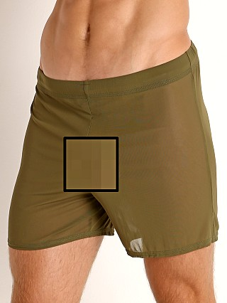 Model in army green McKillop Push Ultra Stretch Mesh Fitness Shorts