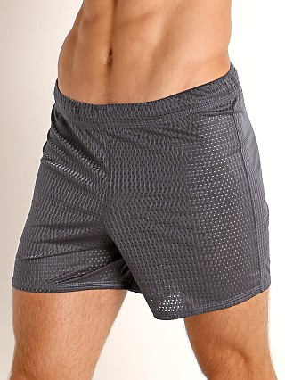 Model in dark grey McKillop Push Expose Mesh Fitness Shorts