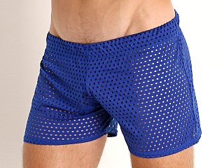 Model in royal McKillop Shadow Glory Mesh Shorts
