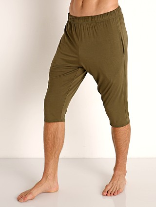 Model in army McKillop Modal Sliders Sports and Lounge Shorts