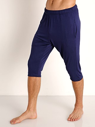 Model in navy McKillop Modal Sliders Sports and Lounge Shorts