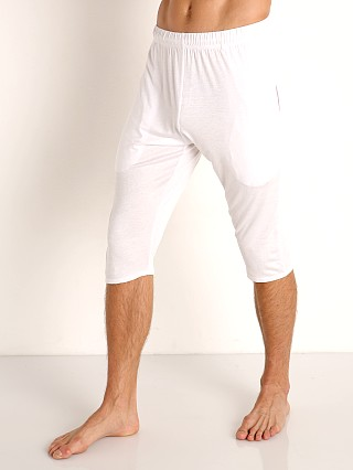 Model in white McKillop Modal Sliders Sports and Lounge Shorts