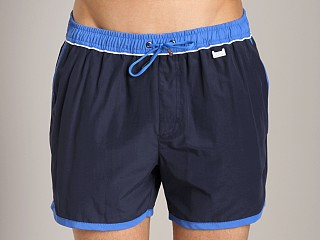Model in navy Hugo Boss Springfish Swim Shorts