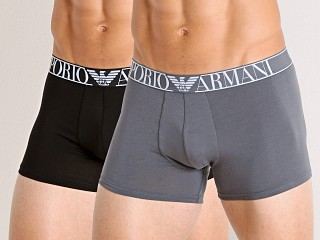 Model in anthracite/black Emporio Armani Endurance Trunks 2-Pack