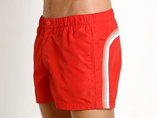 "Model in fire red #2 Sundek 13"" Elastic Waistband Trunk"