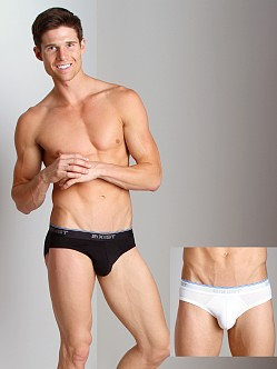2xist Stretch No-Show Briefs 2-Pack Black/White