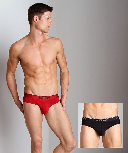 2xist Stretch No-Show Briefs 2-Pack Black/Scotts Red