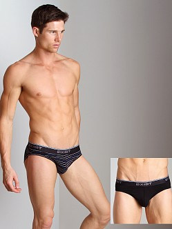 2xist Stretch No-Show Briefs 2-Pack Black/Black Stripe