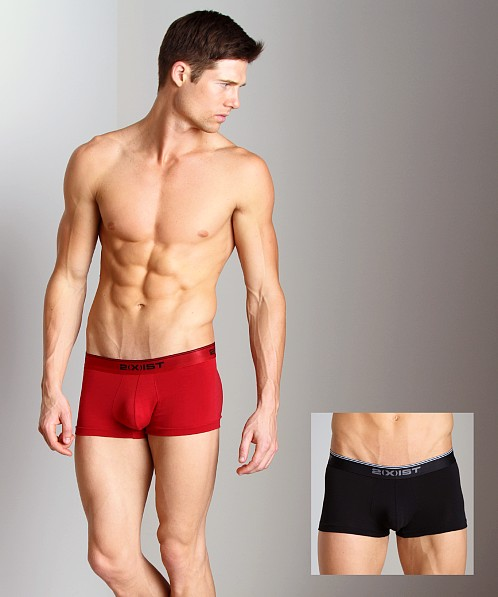 2xist Stretch No-Show Trunks 2-Pack Black/Scotts Red
