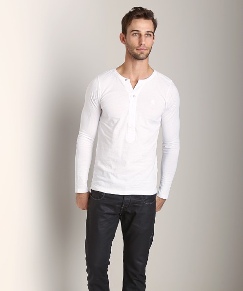 G-Star Navy R T Long Sleeve Shirt White