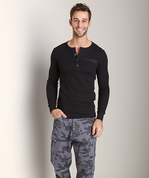 G-Star Grenville Combat Waffle R T Long Sleeve Shirt Black