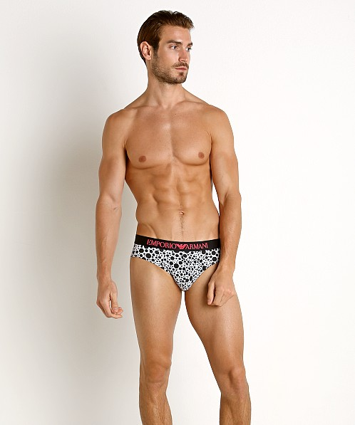 Emporio Armani Black & White Brief Printed Pois
