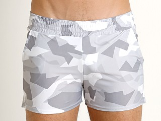 Model in grey Modus Vivendi Desert Camo Swim Short