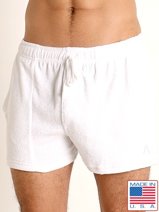Model in white LASC Volley Gym Short