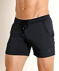 LASC Pique Mesh Performance Workout Short Black, view 3