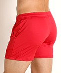 LASC Pique Mesh Performance Workout Short Red, view 4