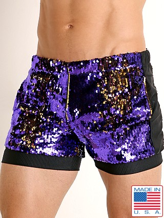 Model in purple/gold LASC Transformer Sequined Sparkle Trunk