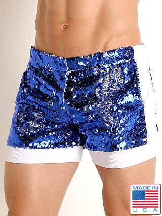 Model in royal/silver LASC Transformer Sequined Sparkle Trunk