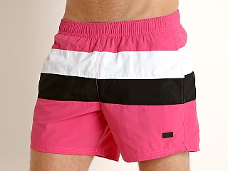 Model in pink/white Hugo Boss Filefish Swim Shorts