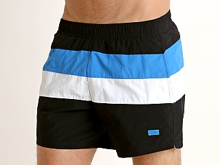 Model in black/blue Hugo Boss Filefish Swim Shorts