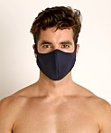 LASC Stretch Cotton Face Mask Navy, view 2