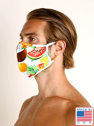 Model in tropical picnic LASC Fashion Face Mask