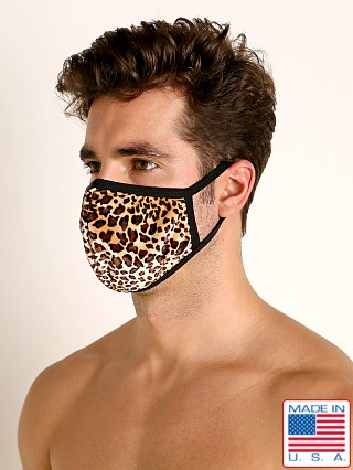 Model in leopard Rick Majors Fashion Face Mask