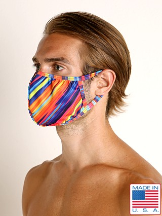 Model in candy stripes Rick Majors Fashion Face Mask Candy Stripe