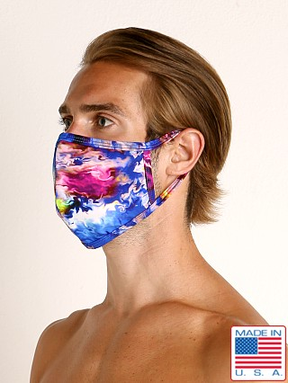 Model in glo flo Rick Majors Fashion Face Mask