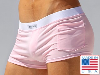 Model in pink Rufskin Fabian Stretch Microfiber Boxer