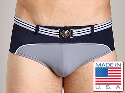 Pistol Pete Cruiser Swim Brief W/Belt And Buckle Navy/Gray