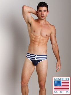 Pistol Pete Mate Swim Brief W/Snaps Navy/White