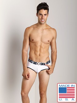 Pistol Pete Revolver Swim Brief W/Belt And Buckle White