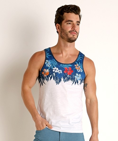 St33le Printed Stretch Jersey Tank Top Turquoise Hibiscus