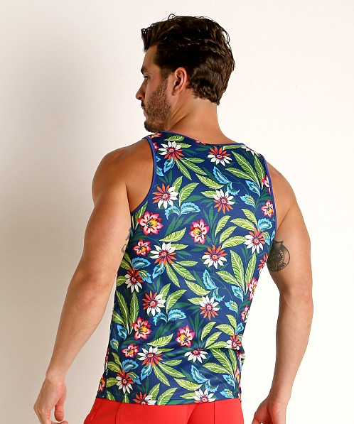 St33le Printed Stretch Jersey Tank Top Navy Floral