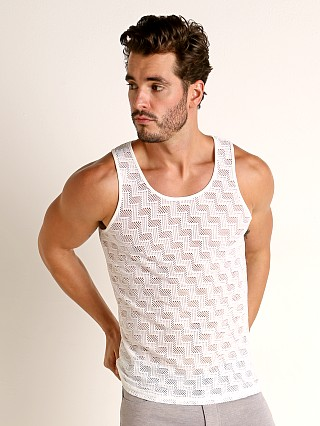 Model in white St33le Zigzag Stretch Eyelet Tank Top