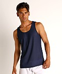 St33le Honeycomb Mesh Performance Tank Top Navy, view 3