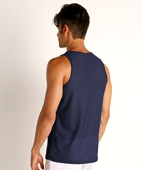 St33le Honeycomb Mesh Performance Tank Top Navy
