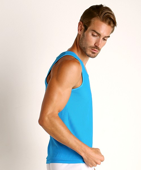 St33le Honeycomb Mesh Performance Tank Top Cyan