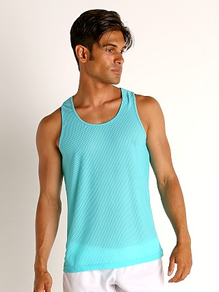Model in aqua St33le Honeycomb Mesh Performance Tank Top