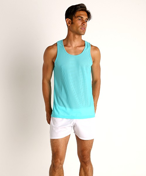 St33le Honeycomb Mesh Performance Tank Top Aqua