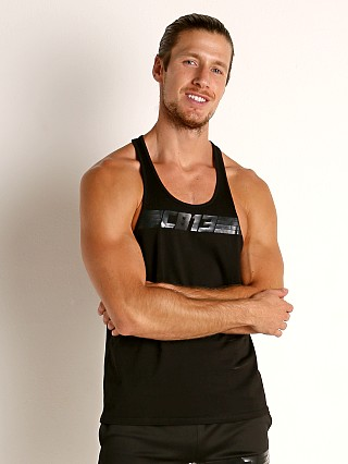 Model in black Cell Block 13 Sprinter Tank Top