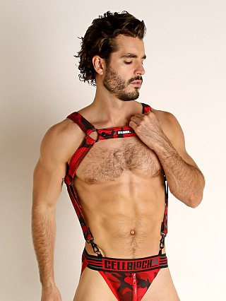 Model in red Cell Block 13 Cadet Harness