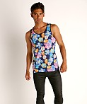 St33le Printed Stretch Mesh Tank Royal Floral, view 1