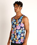 St33le Printed Stretch Mesh Tank Royal Floral, view 3