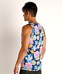 St33le Printed Stretch Mesh Tank Royal Floral, view 4
