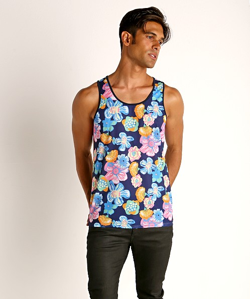 St33le Printed Stretch Mesh Tank Royal Floral